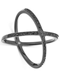 Michael Kors - Black-Tone Jet Crisscross Ring - Lyst
