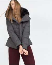 Zara | Gray Quilted Feather Coat | Lyst