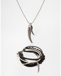 ASOS - Black Necklace And Bracelet Pack With Animal Teeth for Men - Lyst