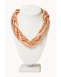 Forever 21 - Orange Braided Beads and Chain Necklace - Lyst
