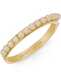 kate spade new york | Metallic Gold-tone Faux Pearl Bangle Bracelet | Lyst