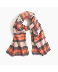 J.Crew - Orange Italian Wool-blend Scarf In Classic Plaid - Lyst