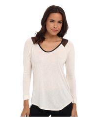 Calvin Klein Jeans | Pink Lace Raglan Sleeve Top | Lyst