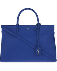 Saint Laurent | Blue Cabas Rive Gauche Grained Leather Tote | Lyst