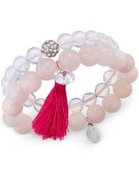Macy's | White Now & Zen Set Of 2 Pink Beaded Stretch Bracelets | Lyst