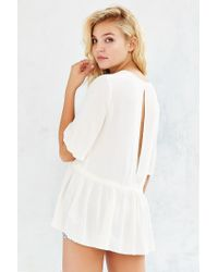 Kimchi Blue - Natural Mia Peplum Shirt - Lyst