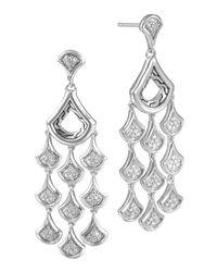 John Hardy - Metallic Silver Diamond Scale Chandelier Earrings - Lyst