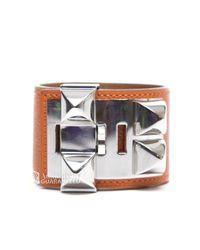 Hermès   Orange Pre-Owned Epsom Collier De Chien Cdc Bracelet   Lyst