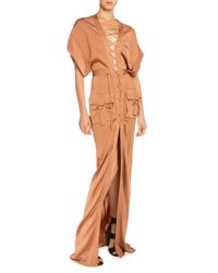 Balmain - Brown Dolman-sleeve Lace-front Cargo Maxi Dress - Lyst