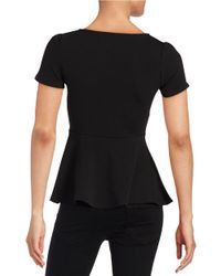 Lord & Taylor | Black V-neck Peplum Top | Lyst