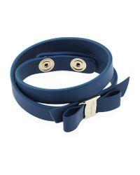 Ferragamo | Blue Double Wrap Vara Bow Bracelet | Lyst