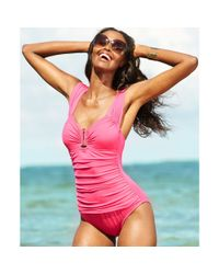 Kenneth Cole - Pink Ruched Hardware Onepiece Swimsuit - Lyst