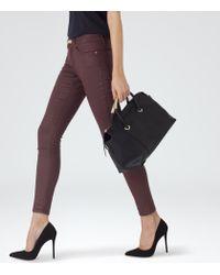 Reiss - Purple Stevie Coated Low-rise Skinny Jeans - Lyst