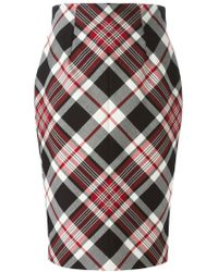 Alexander McQueen - Black Tartan Pencil Skirt - Lyst