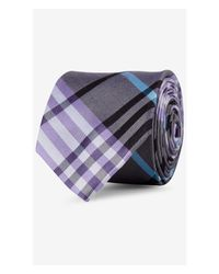 Express - Purple Cobalt Blue Narrow Plaid Silk Tie for Men - Lyst