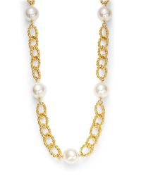 Kenneth Jay Lane | Metallic Faux Pearl And Chainlink Station Necklace | Lyst