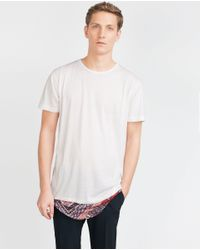 Zara | Natural Printed Hem T-shirt for Men | Lyst