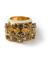 Alexander McQueen | Metallic Crystal Cluster Ring | Lyst