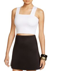 Aqua | White Neoprene Cropped Top | Lyst