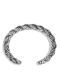 David Yurman - Metallic Woven Cable Narrow Cuff With Diamonds - Lyst