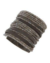 Brunello Cucinelli - Gray Leatherlabradorite Multistrand Cuff for Men - Lyst