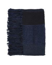 TOPSHOP | Blue Mix Stitch Tassel Scarf | Lyst
