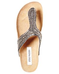 Steve Madden - Gray Radlee Rhinestone Footbed Flat Thong Sandals - Lyst