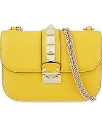 Valentino | Yellow Lock Stud Small Shoulder Bag | Lyst