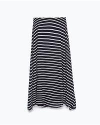Zara | Blue Midi Skirt | Lyst