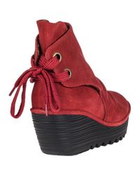 Fly London - Yama Wedge Boot Red Suede - Lyst