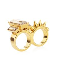Alexander McQueen - Metallic Crystal-stud Two-finger Ring - Lyst