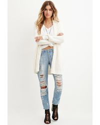 Forever 21 - Natural Mixed Knit Cardigan - Lyst
