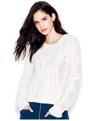 RACHEL Rachel Roy | White Cable-knit Pullover Sweater | Lyst