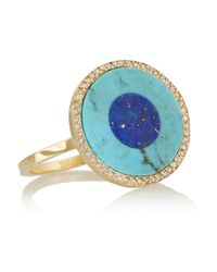 Jennifer Meyer - Blue Evil Eye 18-Karat Gold Turquoise, Lapis Lazuli And Diamond Ring - Lyst