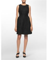 Calvin Klein | Black White Label Textured Lace Pleated Sleeveless Fit + Flare Dress | Lyst