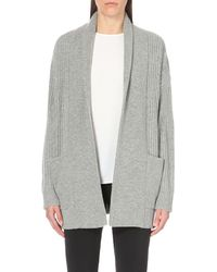 MICHAEL Michael Kors | Gray Shawl Collar Wool And Cashmere-blend Cardigan | Lyst