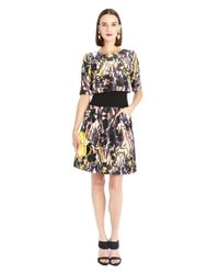 Oscar de la Renta - Multicolor Tropical Ikat Print Mikado Trompe L'Oeil Dress - Lyst
