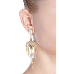 Kenneth Jay Lane | Metallic Chandelier Crystal Spike Drop Earrings | Lyst