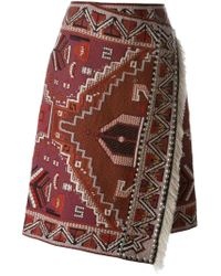 Tory Burch - Red Embellished Wrap Skirt - Lyst