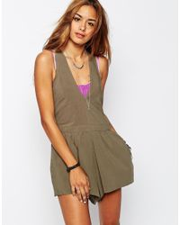 One Teaspoon - Natural Rosewood Playsuit With Racer Back - Lyst