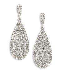 Cara | Metallic Pave Teardrop Earrings | Lyst