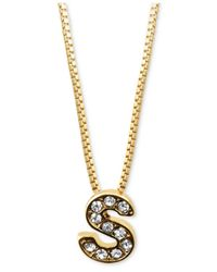 "Anne Klein - Metallic Gold-Tone Pave Glass ""S"" Initial Pendant Necklace - Lyst"