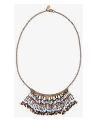 Express | Multicolor Mini Baguette And Bead Fringe Collar Necklace | Lyst
