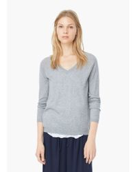 Mango | Gray V-neck Sweater | Lyst