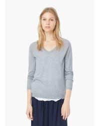 Mango - Gray V-neck Sweater - Lyst