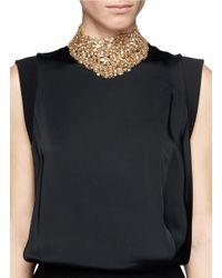 St. John - Metallic 'night Bloom' Swarovski Crystal Laurel Plastron Necklace - Lyst