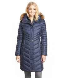 Marc New York | Blue 'karla' Faux Fur Trim Long Down & Feather Fill Coat | Lyst