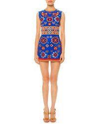 Valentino - Multicolor Geometric-print Short Suede Jumpsuit - Lyst