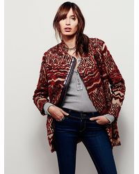 Free People Red Womens Patterned Fur Co