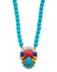 Kenneth Jay Lane - Multicolor Beaded Pendant Necklace - Lyst